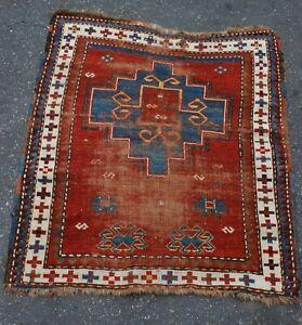 antique caucasian tribal prayer rug 36x42 inches