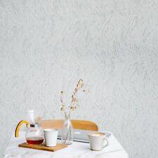 Textured Wallpaper white gray silver metallic faux plaster wave stroke textures
