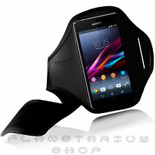 BLACK SPORTS ARMBAND POUCH CASE FOR SONY XPERIA M2 GYM RUNNING JOGGING NEOPRENE