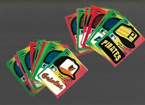 Vintage 80's MLB FLEER Sticker Lot of 26 HAT LOGO Yankees Cubs Cardinals 1983