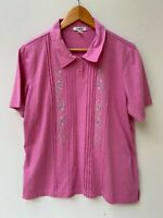 DAMART vintage embroidered women's pink soft short sleeve polo t-shirt size 16