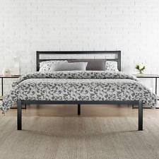 King Size Bed Frame Metal Platform Guests Bedroom Furniture With Headboard Black