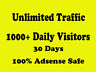 1000+ Unlimited  Mobile Traffic for 30 days