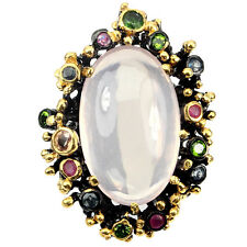Glorious Natural Pink Rose Quartz Chrome Diopside Ruby Sapphire 925 Silver Ring