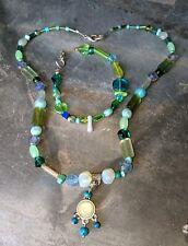Green Opalite Turquoise Ocean Sea Foam Set Bracelet Necklace Set