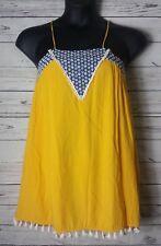 Sister Kates Boutique Womens S Small Boho Above Knee Dress Tassle Fringe Yellow
