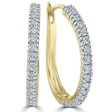 "1/2 ct Diamond Hoops 10K Yellow Gold 1"" Tall"