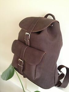 RETRO STYLE LEATHER BACK PACK / RUCK SACK HAND MADE DURABLE CLASSIC BAG