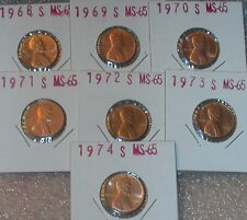 1968 S - 1974 S GEM BU LINCOLN MEMORIAL CENT BUSINESS STRIKE SEVEN (7) COIN SET