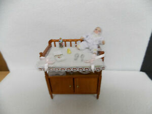 DOLLHOUSE BABY CHANGING TABLE- W/ ACCESSORIES
