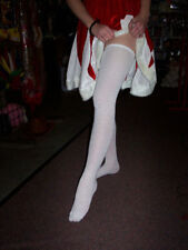 Extra long white thigh high socks over knee school girl tall large overknee UK L