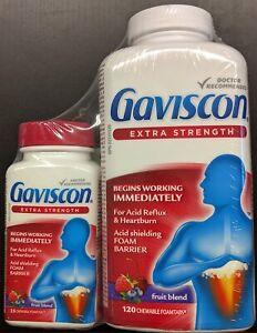 Gaviscon Extra Strength 120 Pack +BONUS 25 Tablet Travel Pack Fresh From Canada
