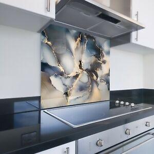 Toughened Printed Kitchen Glass Splashback - Bespoke Sizes - Luxury Marble 134