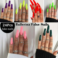 24Pcs/Set False Nail Tips Matte Full Cover Long Coffin Fake Nails Art Manicure K