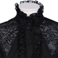Women Tops Retro Gothic Shirt Blouse  Lace Ruffle Steampunk Victorian Puff