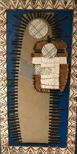 Vintage Abstract Virgin Mary Jesus Mixed Media Wall Hanging Modern Fiber Art
