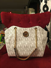 NWT MICHAEL KORS PVC JET SET TRAVEL LARGE CHAIN SHOULDER TOTE BAG IN VANILLA