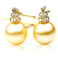 11mm Australian Golden South Sea Pearl Earrings Pacific Pearls® Gifts for Sister