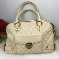 Marc Jacobs Women's Authentic Beige Quilted Handbag Golden Latch Purse Bag