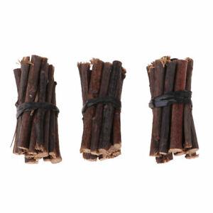 1/12 Dollhouse Miniature Accessories 3 Sets Wood Stick Firewood Garden Yard