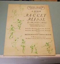 1939 Ballet Russe de Monte Carlo New York Metropolitan Opera House Flyer Hurok