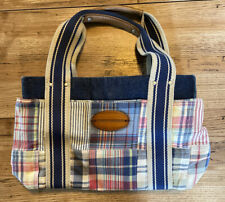 Tommy Hilfiger Women's Multi-Colored Plaid,Denim & Brown Small Handbag.Pre-Owned