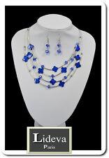 Set Kette Ohrringe Halskette Schmuckset Paris Perlmutt/Glas Blumen Leo Blau