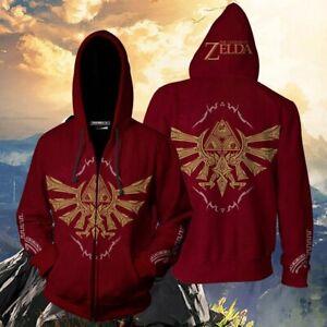 Men Women Cosplay The Legend of Zelda Zip Up Hoodie Jacket Sweatshirt