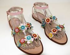 RED VALENTINO Leather Flower Sandals sz EU 39 / US 9 pink