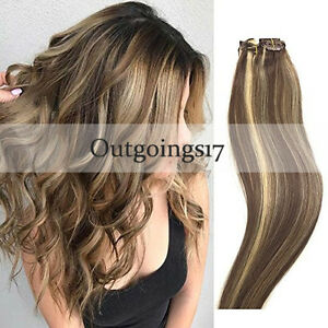 8A Remy Black to Silver Full Head Balayage Ombre Clip in Human Hair Extensions