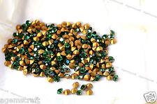 12 Vintage Swarovski 1100 Green Tourmaline Chaton crystals SS29 Gold Foiled