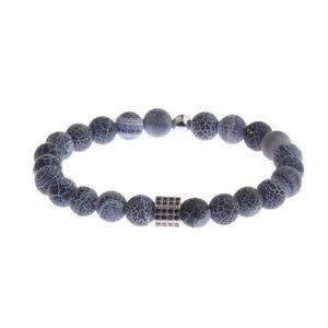 Natural Stone Charm Mens Fashion Bracelet Top Copper Micro Pave Black CZ Jewelry