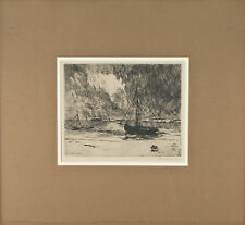 """""""Coming Storm, Destroyers Going to Sea"""" By Philip Little 1917 Signed Etching"""