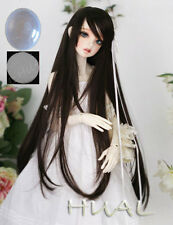 "7-8"" 1/4 BJD Black Long Wig LUTS Doll SD DZ DOD MSD Pullip Dollfie Hair +Cap #AL"