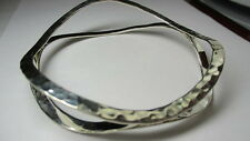 STERLING SILVER 925 ESTATE HAMMERED FLOATING DOUBLE RING BANGLE BRACELET