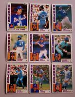 Lot of 9 1984 Topps  ATLANTA BRAVES Phil Niekro, Joe Torre, Dale Murphy baseball
