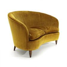Divano Curvo in velluto color ocra anni '30, mid century sofa, italian modern