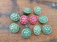 ♥Nr 90 DM 14 mm ♥ Alte Glasknöpfe kristall irisierend Strassstein 12 St