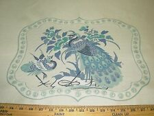 "~2 PIECE~""PEACOCKS"" BIRDS~ EMBROIDERED PILLOW PANEL UPHOLSTERY FABRIC FOR LESS~"