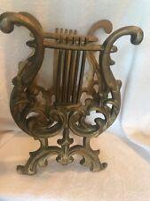 Cast Metal or Brass Lyre Harp Music Magazine Rack Stand Heavy Gold  Vintage