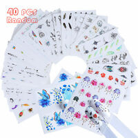 40x Nail Art Water Decals Stickers Transfers Spring Water Effect Flowers Feather
