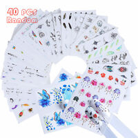 40 Sheets Bulk Nail Art Transfer Stickers 3D Decal Manicure Decoration Tips New