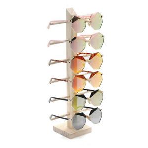 6 Tiers Wooden Eye Glasses Sunglasses Display Rack Stand Holder Organizer UK