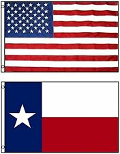 2x3 ft USA and Texas Embroidered Sewn Nylon 600d Flag House Banner