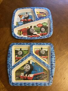Set Of 2 Thomas and Friends melamine 3 part divided plates Zak designs