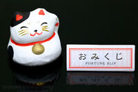 Japan Maneki Neko Beckoning Cat Figure & Fortune Slip Omikuji Bilingual(Eng+Jap)