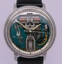 VINTAGE 1967 Bulova Accutron Spaceview 214 Mens 35mm Steel Tuning Fork M7 Watch