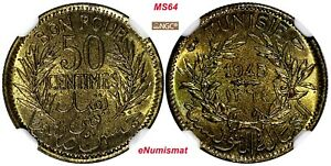 TUNISIA AH1364//1945 50 Centimes NGC MS64 WWII Issue TOP GRADED BY NGC KM# 246