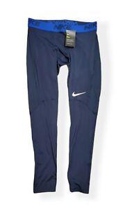 Men's Nike Pro Dri Fit Base Layer Training Tights Pants, Navy, Size XL
