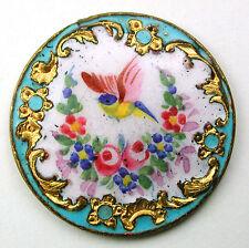 "Antique Enamel Button Hand Painted Bird & Flowers Champleve Border 1 & 3/16"""